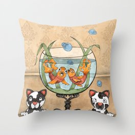 kittens by the fish bowl Throw Pillow