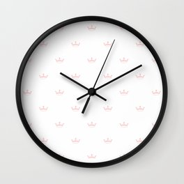 Pastel Pink Crown pattern Wall Clock