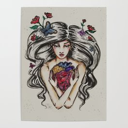 be still my beating heart anitomical love valentine tattoo brunette Poster