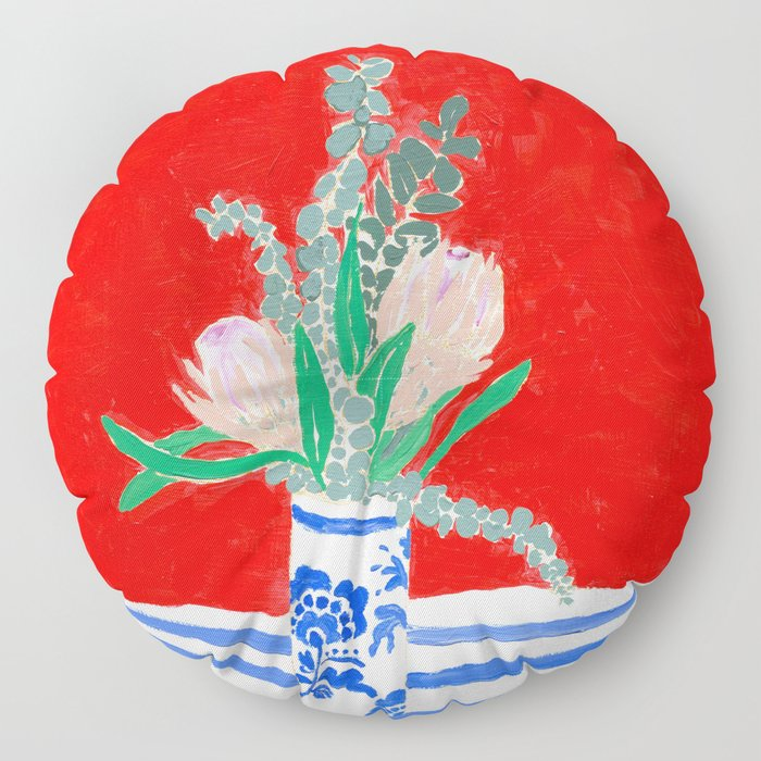 Protea Still Life in Red and Delft Blue Floor Pillow