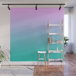 Pink Teal Ombre Gradient Summer Pattern Wall Mural