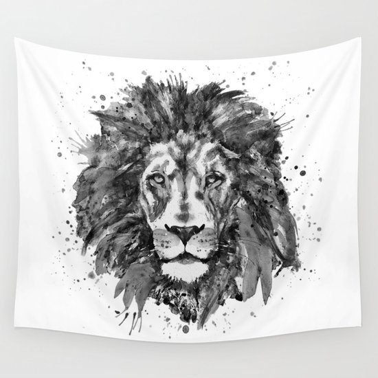 Black and White Lion Head by marianvoicu