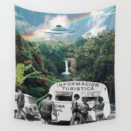 The Visitors // UFOs in Paradise Wall Tapestry