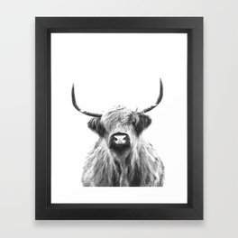 Black and White Highland Cow Portrait Framed Art Print