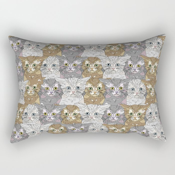 Kitties Galore Pattern Rectangular Pillow