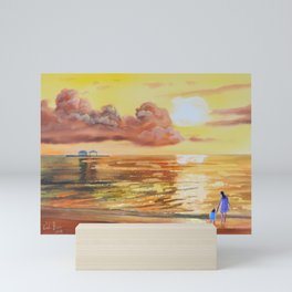 Mother and Daughter sunset seascape Mini Art Print