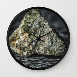 Epidote resting on granite Wall Clock