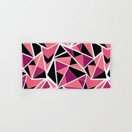 Abstract geometric pattern in black pink .Triangles . Hand & Bath Towel