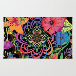 Neon Mandala and Flowers Rug