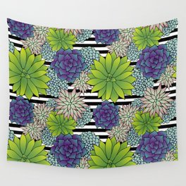 Succulents on Black and White Stripes Wall Tapestry