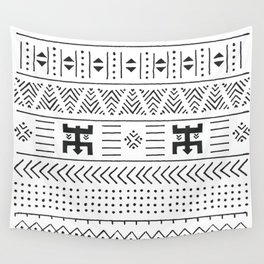 Black and white tribal ethnic pattern with geometric elements, traditional African mud cloth, tribal Wall Tapestry