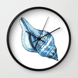 Shell coastal ocean blue watercolor Wall Clock