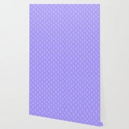 Hand painted geometrical violet  white swirls stripes pattern Wallpaper