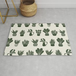 Green on Ivory houseplant linocut pattern  Rug