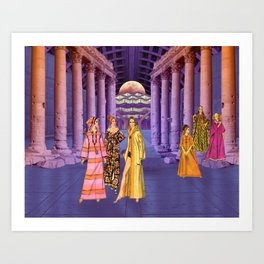 Virgins Gathering at The Moon Temple Art Print