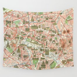 Vintage Map of Paris (1920) Wall Tapestry