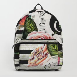 Treble Clef with Watercolor Roses Backpack