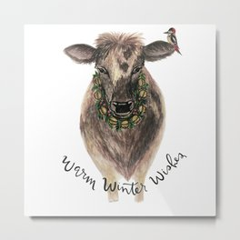 Warm winter wishes- cow Metal Print
