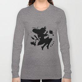 Alice in wonderland falling silhouette (black) Long Sleeve T-shirt