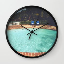 Two Chairs at the Pool Wall Clock