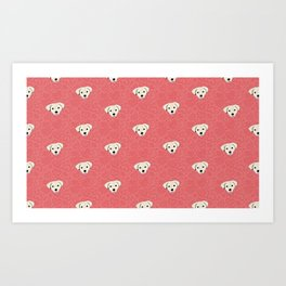 Puppy Love Red Heart Pattern Art Print