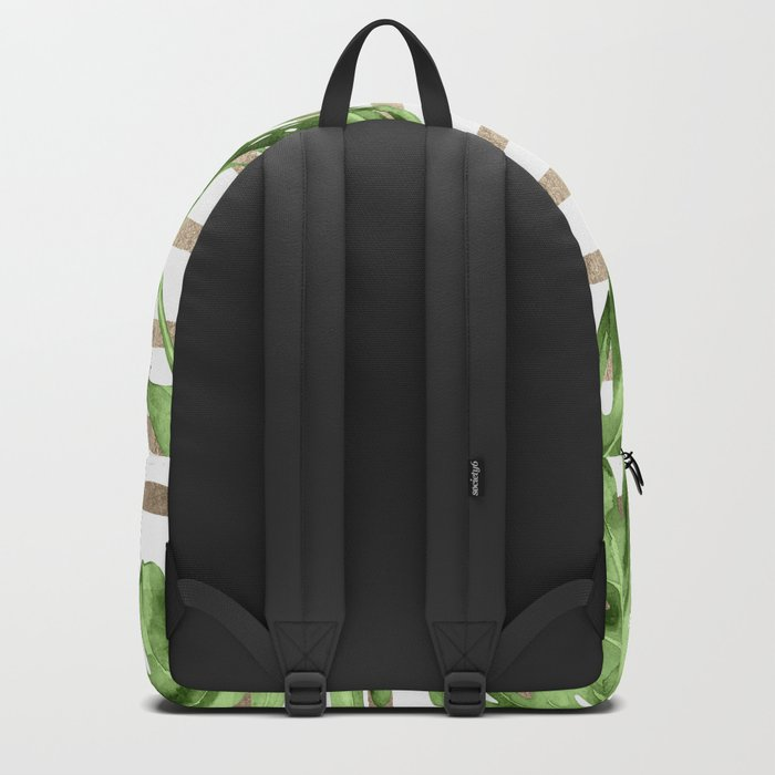 Simply Tropical White Gold Sands Stripes and Palm Leaves Backpack