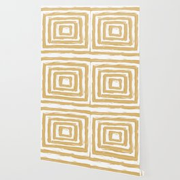 Minimal Gold Square Brush Stroke Pattern Wallpaper