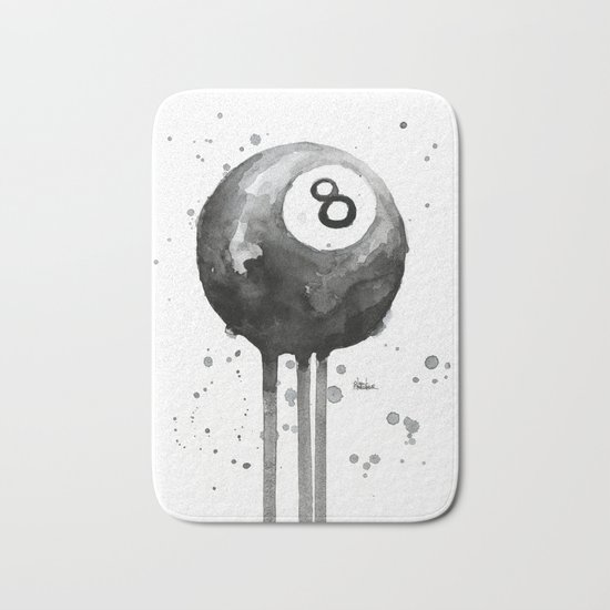 8-Ball Watercolor Black Pool Billiards Eight Ball Art Bath Mat