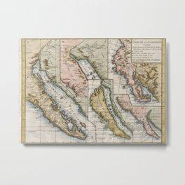 Vintage Map of California (1772) Metal Print