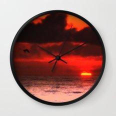 Pelican at Sunrise Wall Clock