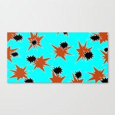 Stars (Orange & Black on Blue) Canvas Print