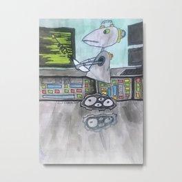 Funny funky Robot Metal Print