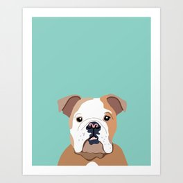 Bulldog art print - bulldog gift, bulldog decor, bulldog lover, cute bulldog, dog portrait Art Print