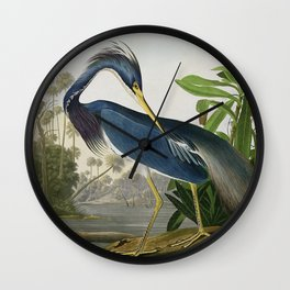 John James Audubon Louisiana Heron Painting Wall Clock
