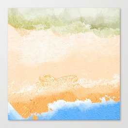Dunes, dry beach, wet beach, Water Canvas Print