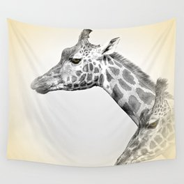 Giraffes With A Hint Of Colour Wall Tapestry