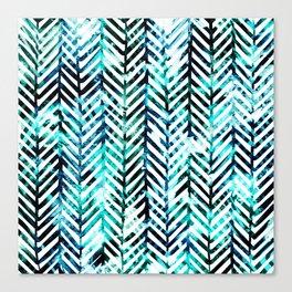 Aqua Herringbone Canvas Print