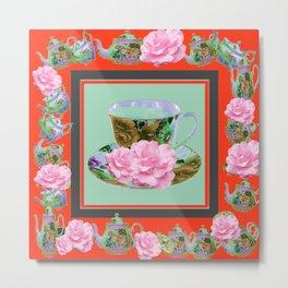 SAFFRON COLOR PINK ROSE AFTERNOON TEA Metal Print