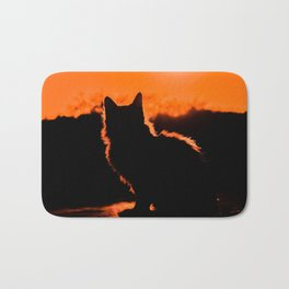 Cat and Sunset Bath Mat