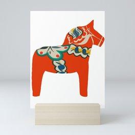 Red Swedish Dala horse Mini Art Print