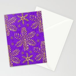 DP044-3 Gold snowflakes on purple Stationery Cards