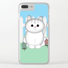 White Cat Clear iPhone Case