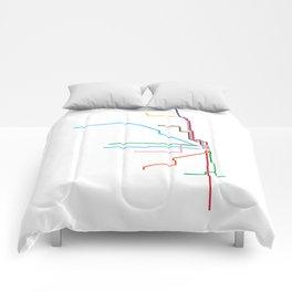 Chicago CTA Map, Chicago Train Map Art, Chicago L Train Map, Chicago Art, Chicago Wall Art, Map Art Comforters