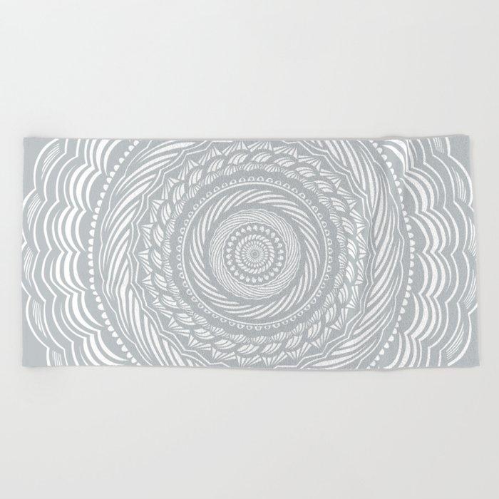 cool beach towel designs. Spiral Mandala Detailed Eclectic Ethnic Spiritual Minimalism Minimalist Design (Light Cool Gray) Beach Towel Designs