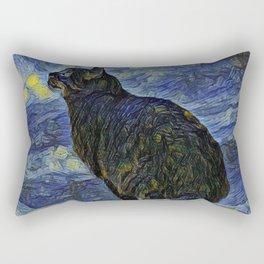Indigo martian cat in Vincent Van Gogh impressionist painting style. Rectangular Pillow