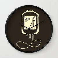 coffee Wall Clocks featuring Coffee Transfusion by Tobe Fonseca
