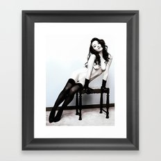 Glamour, slim and sexy girl in lingerie, erotic nude, kinky girl posing, hot woman naked Framed Art Print