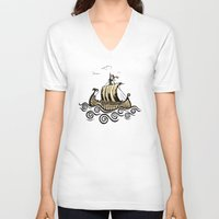 rowing V-neck T-shirts featuring Viking ship 2 by mangulica illustrations