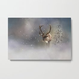 Santa Claus Reindeer in the snow Metal Print