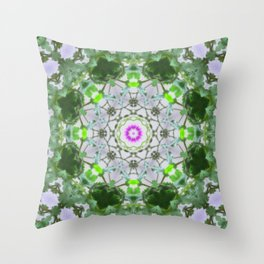 Purple Wildflower Kaleidoscope Art 8 Throw Pillow